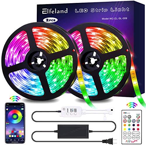 Elfeland LED Strip Lights 32.8FT/10M 300 LEDs IP65 5050 RGB Strip Lights Music Sync Color Changing Rope Lights Flexible Tape Light Kit with APP Controller for Bedroom Home Kitchen
