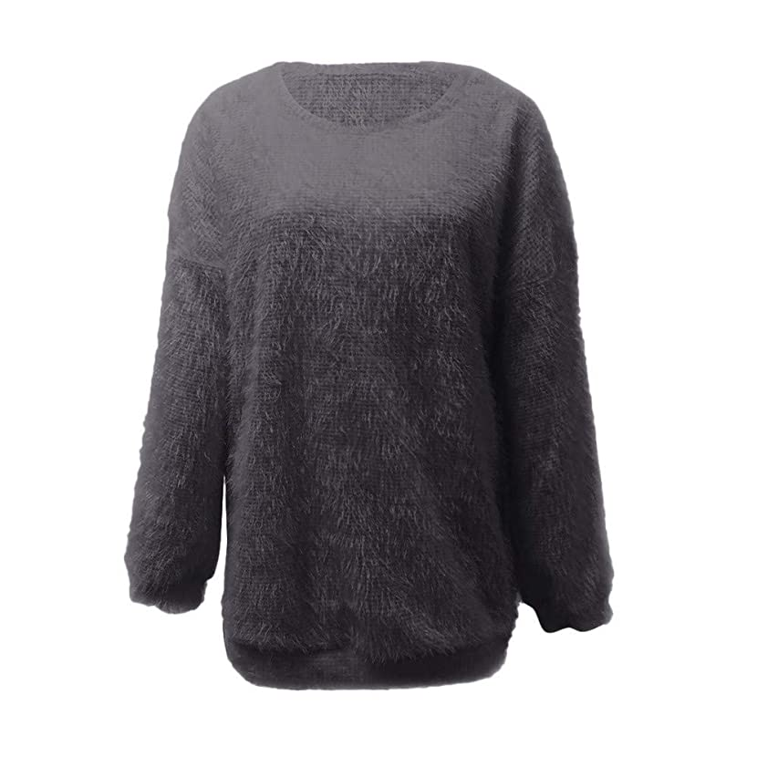 PERFURM Sweater Women Solid Color Crew-Neck Loose Oversized 5XL Soft Knitted Warm Latern Sleeve Knitwear Blouse Top