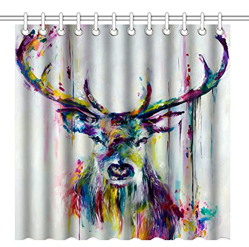 Wknoon 72 x 72 Inch Shower Curtain Vintage Deer Artwork, Abstract Colorful Deer Watercolor Painting Art, Waterproof Polyester Fabric Decorative Bathroom Bath Curtains