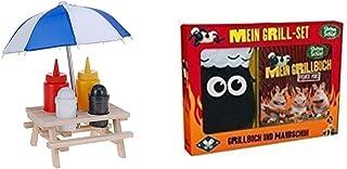 Schramm/® Gew/ürzst/änder Picknicktisch mit Sonnenschirm Menage Senf Ketchup Salz Pfeffer Spender BBQ Menage Gew/ürzhalter Gew/ürzregal 6-teiliges Set