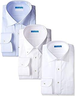 [ドレスコード101] ノーアイロン 長袖ワイシャツ 洗って干してそのまま着る 綿100% の優しい着心地 シンプルがかっこいい シーンを選ばないデザイン 高形態安定 EATO22-3SET メンズ