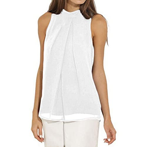 91b029bf39e Halife Women Casual Summer Chiffon Tank Top High Neck Sleeveless Blouse  Shirt