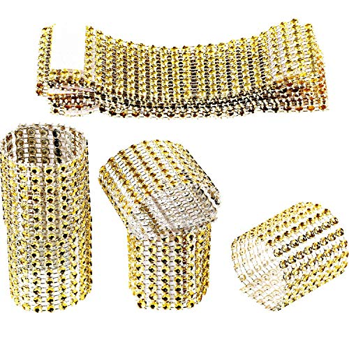 Zhanmai 110 Pieces Rhinestone Napkin Rings Gold Napkin Mesh Adornment for Wedding Party Birthday Supplies