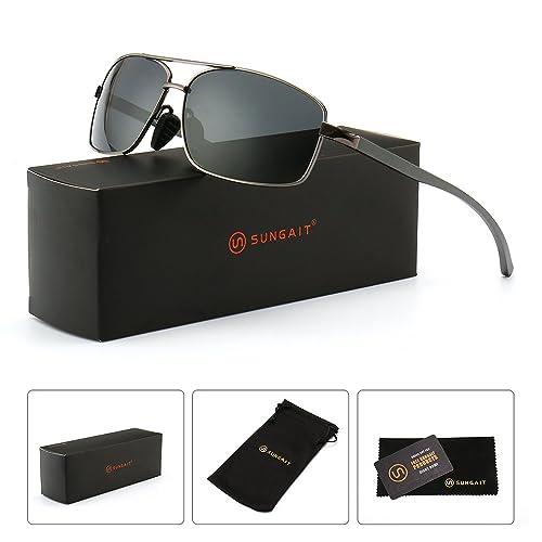 07561181b833 SUNGAIT Ultra Lightweight Rectangular Polarized Sunglasses 100% UV  protection