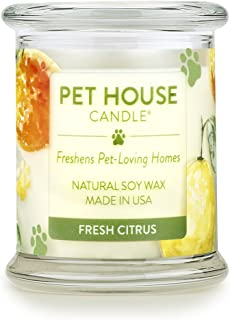 One Fur All - 100% Natural Soy Wax Candle, 20 Fragrances - Pet Odor Eliminator, Appx 60 Hrs Burn Time, Non-toxic, Reusable Glass Jar Scented Candles – Pet House Candle, Fresh Citrus