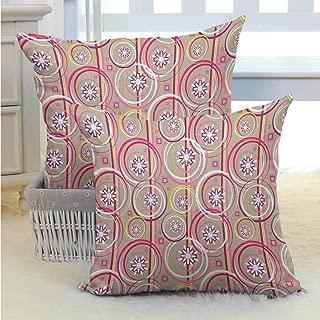 Living room sofa hug pillowcase Floral,Modern Retro Mix Abstract with Sketchy Circles Creative Swirls Artwork, Tan Purple Hot Pink Bedding Soft Pillowcase Hypoallergenic Pillowcase W14 x L14 inch x 2