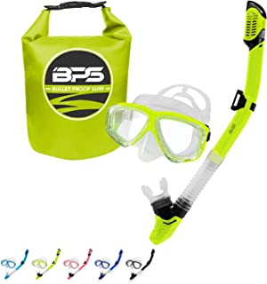 BPS 'Ultra Comfort' Dive Mask and Dry Top Snorkel - Dive Mask with Wide View Tempered Lens - Snorkel with Purge Valve to Release Water and Silicon Mouth Piece - for Men, Women, Teenagers - Choose Bag