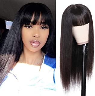 Straight Wig with Bangs Human Hair Wigs with Bangs for Black Women Jaja Hair 150% Density None Lace Front Wigs Brazilian Virgin Pre Plucked Natural Black Color 24 Inch