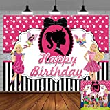 Barbie Party Backdrop Black Barbie Girl Birthday Doll Backdrop Party Glamour Banner Barbie Doll Photo Frame African American Fashion Cake Table Decoration Props Photo Shoot
