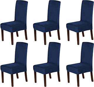 Stretch Velvet Dining Chair Covers Set of 6 Chair Covers for Dining Room Parsons Chair Slipcover Chair Protectors Covers D...