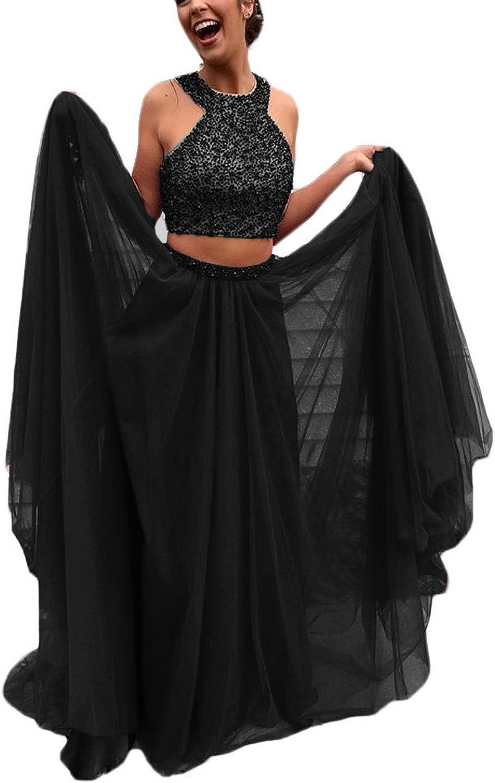 Promworld Women's Halter Beading Evening Party Tulle Skirt 2 Piece Prom Dresses
