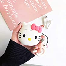 Airpods Case, Super Cute Girls Kids Lady 3D Cute Cartoon Hello Kitty Case Cover Soft 3D Cartoon Silicone Cover Case for Apple Airpods 2 &1 Charging Cases with Carabiner Keychain (Pink Kitty)