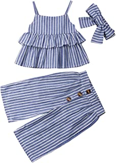 1-6 Yrs Toddler Baby Kid Girl Outfit Halter T-Shirt Top + Flared Pants Clothes Set