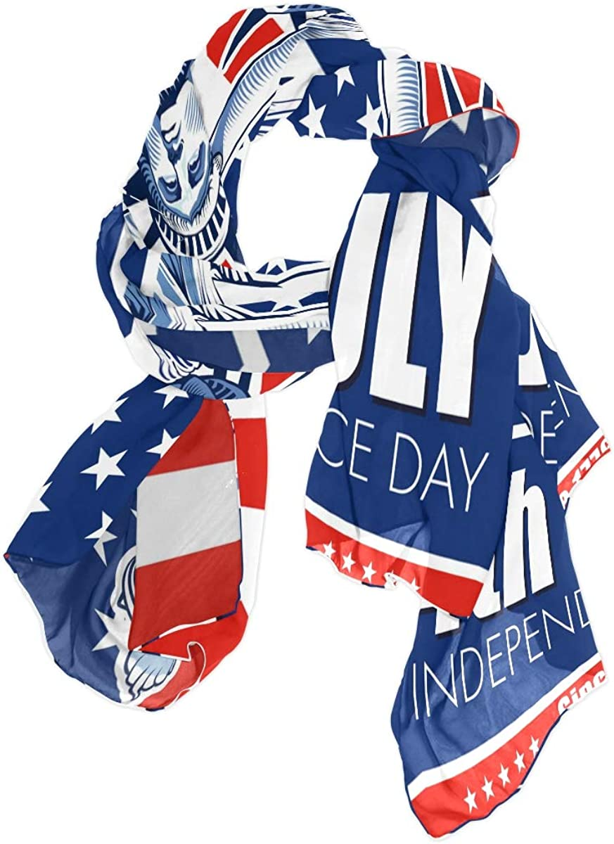 AUUXVA Fashion Scarf American Flag 4Th July Independence Day Long Lightweight Sunscreen Scarf Shawl Wrap Muffler Neckerchief for Women Men