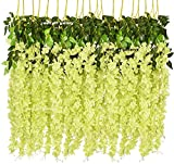 95% Silk and 5% Plastic ✔Perfect For: The string flowers are perfect for wedding bouquet,party, office decoration ,decor, altar,church,corsages, pew bows, reception centerpieces,You can hang it on the wall, doors, swing, mirrors and anywhere as you l...