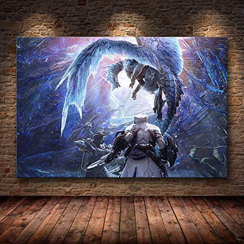 h-p Juego Clásico Monster Hunter World Arte Moderno De La Lona Cartel...