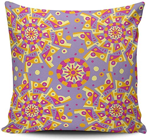 Throw Pillow Case Home Decoration Yellow Pink and Purple Carnival Mandala Pattern Square Custom Pillowcase Cushion Cover Double Sided Printed