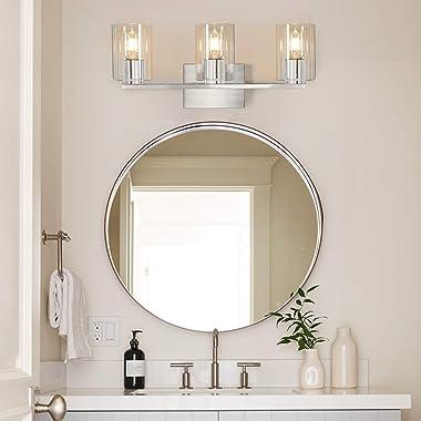 DRNANLIT 3-Light Vanity Light, Brushed Nickel Bathroom Lighting Fixtures Over Mirror, Modern Metal Wall Lights for Hallway Ki