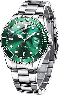 OLEVS Men's Watches Gold Diamond Luxury Watch Stainless Steel Day Date, Waterproof Luminous Quartz Analog Men Wristwatch