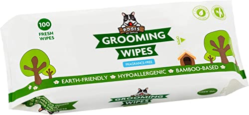 Pogi's Grooming Wipes - 100 Deodorising Wipes for Dogs & Cats - Biodegradable, Hypoallergenic, Fragrance-Free