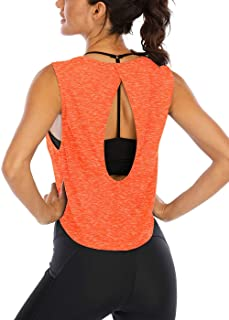 ICTIVE Workout Tank Tops for Women Cute Summer Crop Tops for Women Keyhole Open Back Muscle Tank Athletic Gym Tops
