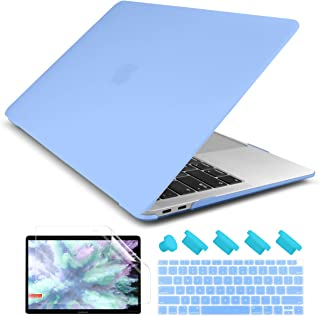 Dongke Smooth Matte Frosted Hard Shell Cover for MacBook Air 13 Inch with Retina Display fits Touch ID, Air 13 Inch Case 2019 2018 Release A1932 (Frost Senerity Blue)