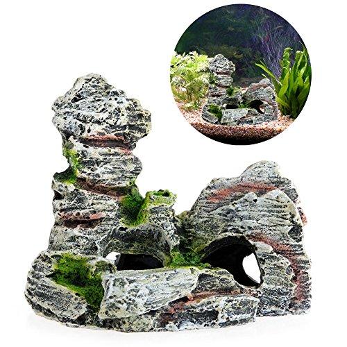 YUNAWU Mountain View Aquarium Rock Cave Tree Bridge Fish Tank Ornament Decoration Decor