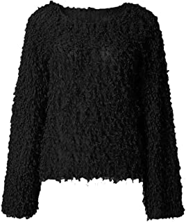 Womens Baggy Loose Trumpet Long Sleeve O Neck Knitted Pullover Jumper Sweaters