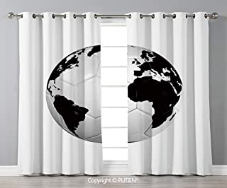 PUTIEN Grommet Blackout Window Curtains Drapes [ Sports Decor,Soccer Ball with World Map Football Cup 2010 Entertaining Professional Game, for Living Room Bedroom Dorm Room Classroom Kitchen Cafe