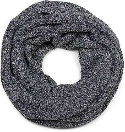 styleBREAKER chal/fular de tubo de punto unisex con motivo de punto a cuadros, pañuelo de invierno, chal de punto, fular de tubo, hecho en Polonia 01018162, color:Negro-Blanco
