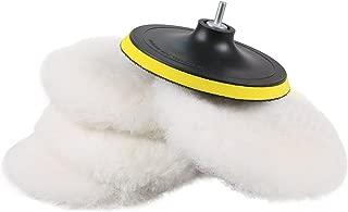 SPTA 6 Pcs 6 Inch Polishing Buffer Wool and Wheel Polishing Pad Woolen Polishing Waxing Pads Kits with 5/8