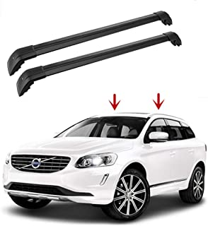 Motorfansclub Top Roof Rack Cross Bar Crossbar Rail Cargo Luggage for Volvo XC60 2013-2018 Black