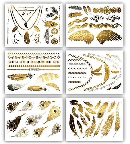 Terra Tattoos Feather Temporary Tattoos - 75 Gold Silver Metallic Tattoos