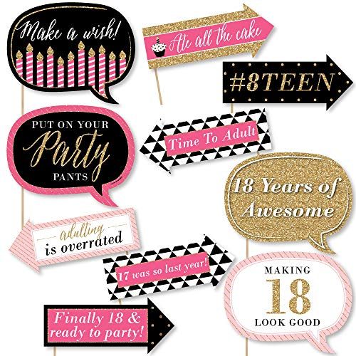 Big Dot of Happiness Funny Chic 18th Birthday - Pink, Black and Gold - 18th Birthday Party Photo Booth Props Kit - 10 Piece