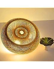 Bamboe Plafondlamp Natuurlijke Rotan Hanglamp Plafondlamp Creatieve Handgemaakte Lampenkap Kroonluchter E27 Plafondverlichting Restaurant Slaapkamer Woonkamer Cafe Bar Studie Kantoor Theehuis