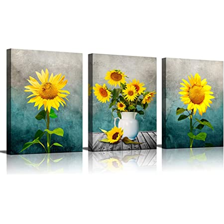 Amazon Com Kitchen Wall Art Yellow Sunflower In Vase Turquoise Background Canvas Print For Living Room Decor Framed Coffee Rustic Office Home Posters Prints