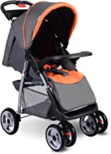 Best Costzon Baby Stroller, Foldable Infant Pushchair with 5-Point Safety Harness, Multi-Position Reclining Seat, Parent and Child Tray, Large Storage Basket, Suspension Wheels, Gray Review