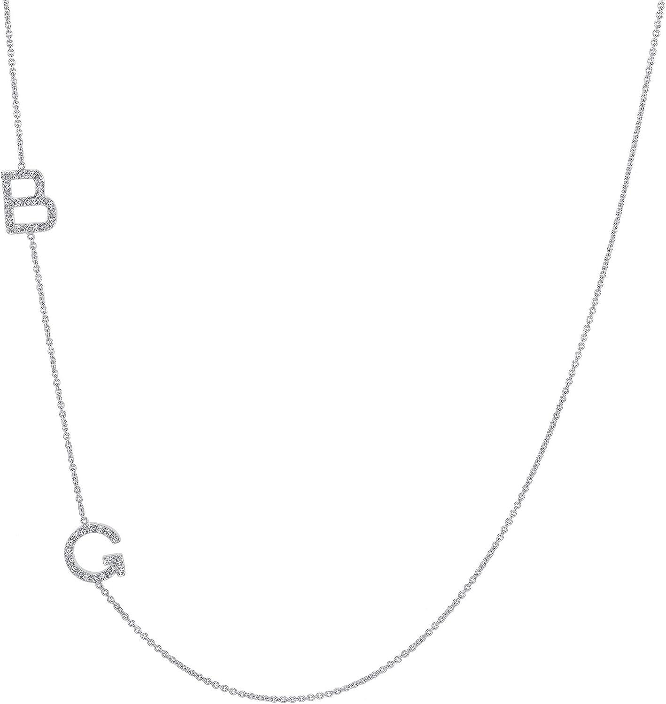 TOUSIATTAR Diamond Initials Necklace – 14k Gold Two Personalized Letters Asymmetrical Necklaces – Sideways Alphabet Name Pendant Women Jewelry Gift