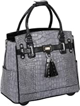 JKM and Company Greystone Alligator Crocodile Compatible with Computer iPad, Laptop Tablet Rolling Tote Bag Briefcase Carryall Bag