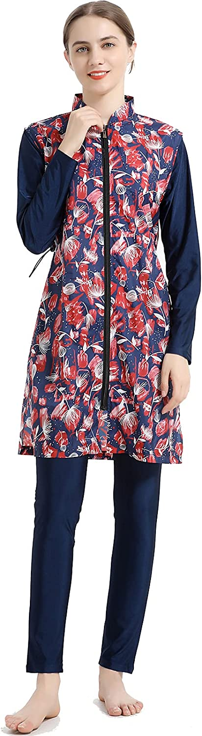Wowdecor Muslim Swimsuits for Women Plus Size 2 Pieces Fully Covered Swimwear Print Burkini with Hijab