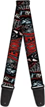 Buckle-Down 2 Inches Wide Marvel Universe Guitar Strap-Venom Action Capital Punishment Cover Pose/Web Black/White/Red (GS-WVN008)