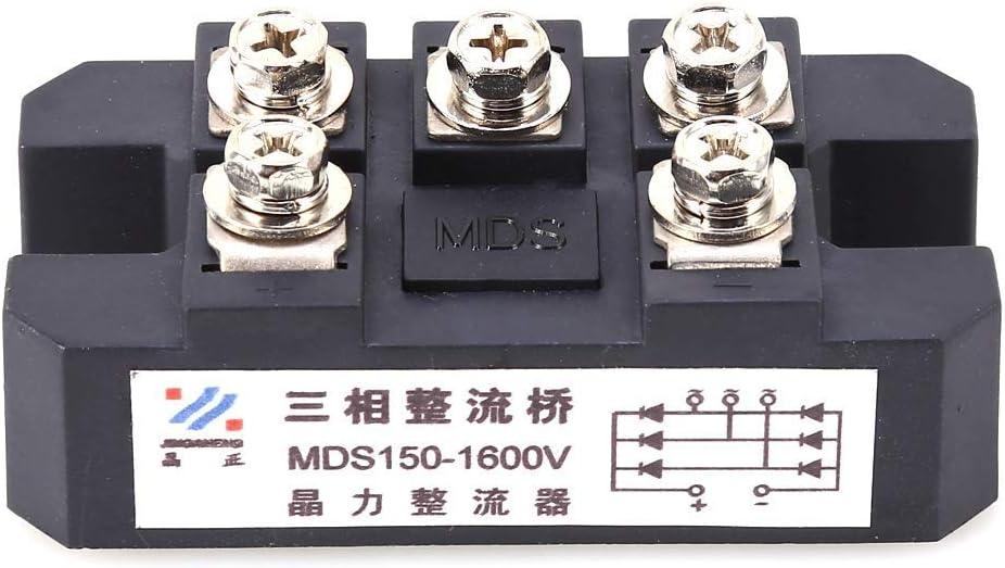 Eatbuy Puente de diodo - Puente rectificador de diodo trifásico 150A MDS150A 1600V Potencia Duradera