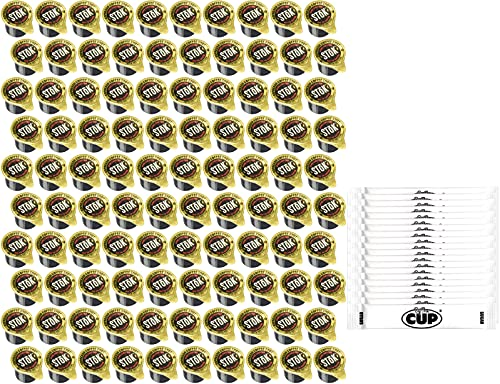 100 Ct SToK Caffeinated Black Unsweetened Cold Brew Coffee Shots with By The Cup Sugar Packets
