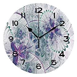 AmaUncle Print Round Wall Clock, 10 Inch Fractal Floral Pattern, Digital Artwork for Creative Graphic Design Quiet Desk Clock for Home,Office,School SW156928