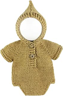 Newborn Baby Photography Props Costumes Outfits Infant Crochet Boys Girls Knit Hat Tops Hoodies (Khaki)