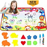 BRYUBR Toys for 2 Year Old, Large Water Doodle Mat Kids Toys Aqua Magic Mat Drawing Writing Board with Magic Pens Educational Toys Gifts for Age 2 3 4 5 6 7 8 Year Old Girls Boys Toddler