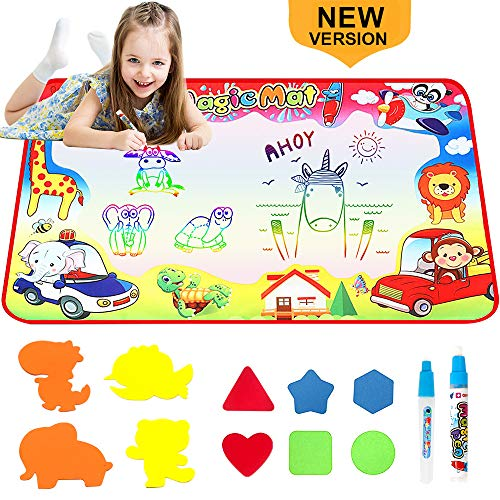 BRYUBR Water Doodle Mat - Kids Aqua Magic Mat Painting Writing Board Toy - Color Doodle Drawing Mat with Magic Pens Educational Toys for Age 2 3 4 5 6 Year Old Girls Boys Age Toddler Gift