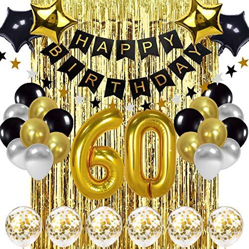 SZHUIHER Globo Negro y Dorado de decoración de cumpleaños número 60, Pancarta de Feliz cumpleaños, Globos de número 60 de Oro, Globos de cumpleaños número 60, decoración de cumpleaños de 60 años