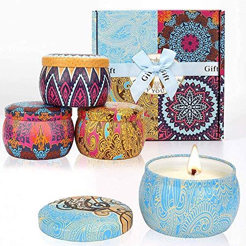 Geurkaars Gift Set Time 120 uur sojawas candle Lavender Flavor Lemon Fig LIintemps om Aromatherapie Huwelijk Bath Yoga 4 * 4.4 oz
