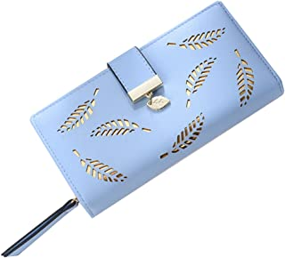 OULII Women Buckle Clutch Wallet Hollow Leaves Long Leather Purse Elegant Clutch Wallet for Card Cash Holding (Blue)